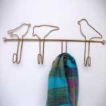 Coat Hooks with Row of Birds